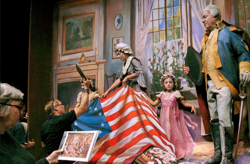 Pageant of the Masters (2015) (backstage). Live recreation of Edward Percy Moran, The Birth of Old Glory (Betsy Ross Presenting Flag) (1917). Image courtesy of Pageant of the Masters.