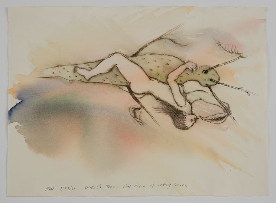Faith Wilding, The Dream of Eating Leaves (1988). Watercolor and ink on paper, 9.5 x 13 inches. Image courtesy of the artist and Armory Center for the Arts, Pasadena.