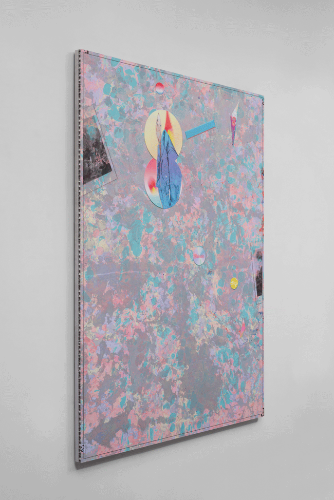 Carter Mull, Untitled Social Subject (Emotional Assassin, Svelte Accomplice, Fractured Defendant) (2015). K3 ink, ultra-violet ink and acrylic on cotton mounted on honeycomb aluminum, 59 x 42 inches. Image courtesy of Jessica Silverman Gallery.
