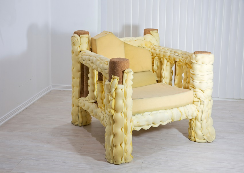 Jessi Reaves - Life is Getting Longer  Baguette Chair, 2016, wood, upholstery foam, sawdust, ink