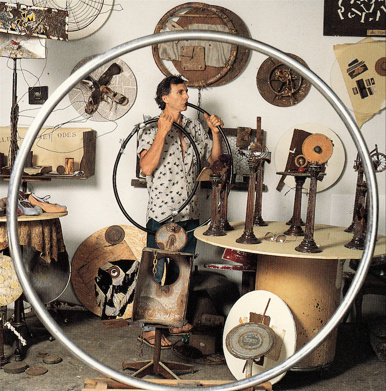 George Herms photographed by Marva Marrow. Inside the L.A. Artist. Salt Lake City: Peregrine Smith, 1988. Print.