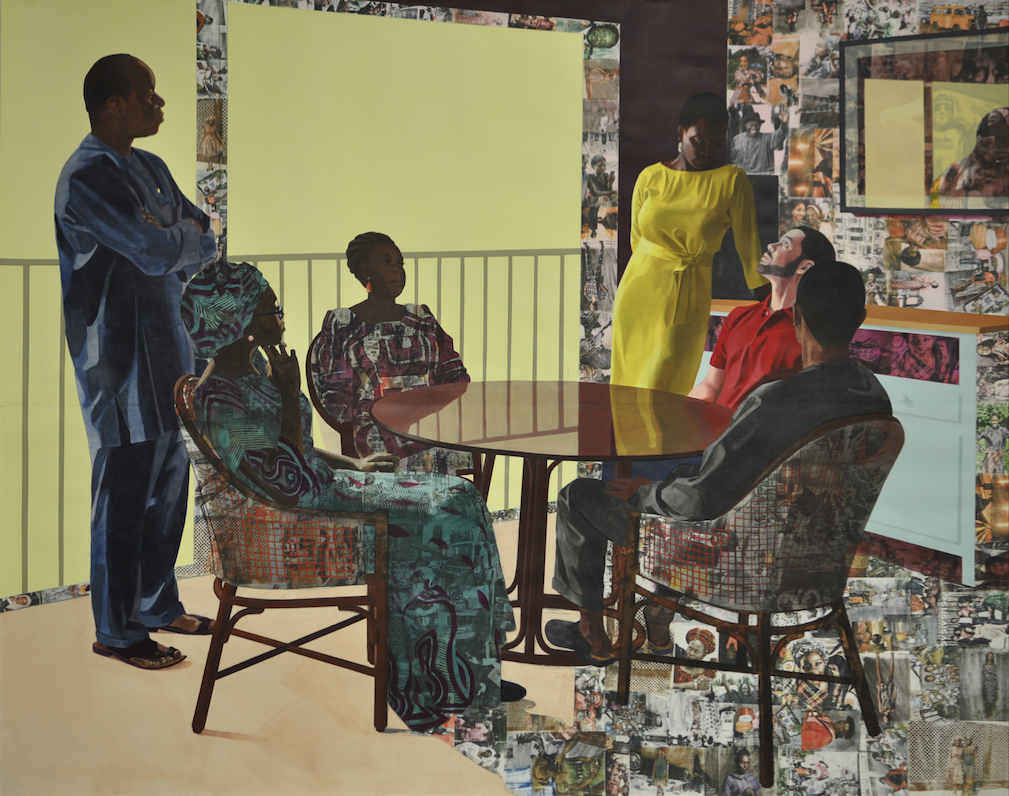 Njideka Akunyili Crosby, I Still Face You, (2015). Acrylic, charcoal, colored pencils, collage, and Xerox transfers on paper, 84 x 105 inches. Image courtesy of the artist and Victoria Miro, London. Photo: Jason Wyche.