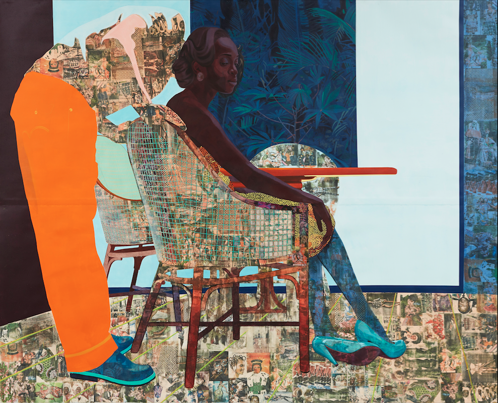 Njideka Akunyili Crosby, And We Begin To Let Go (2013). Acrylic, charcoal, pastel, marble dust, collage, and transfers on paper. 84 ×105 inches. Image courtesy of the artist. Photo: Jason Wyche.