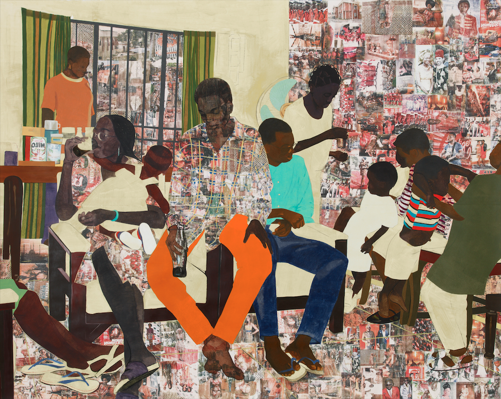 Njideka Akunyili-Crosby, 5 Umezebi Street, New Haven, Enugu (2012). Acrylic, charcoal, pastel, color pencil, and transfer on paper, 84 × 105 inches. Collection of Craig Robins. Image courtesy of Tilton Gallery, New York. Photo: Max Yawney.