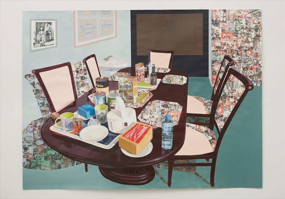 Njideka Akunyili Crosby, Tea Time in New Haven Enugu (2013). Acrylic, collage, colored pencils, charcoal, and transfers on paper. 84 x 111 inches. Collection of Olga Schloss. Image courtesy of the artist. Photo: Jason Wyche.