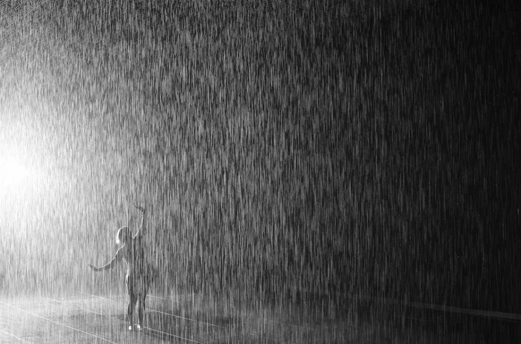 Rain Room by Random International, (2012) at The Museum of Modern Art, New York, NY. Image courtesy of Random International. Photo: courtesy Random International.