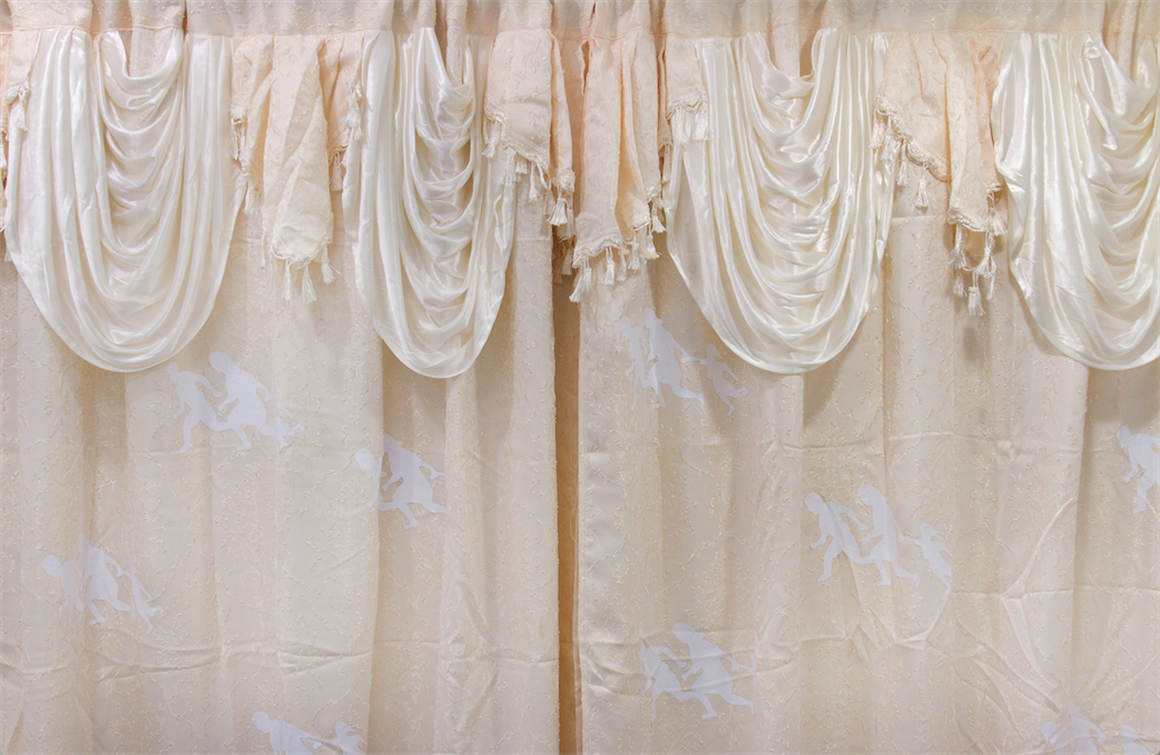 Amalia Ulman, The Importance Of The Nest (detail) (2014), curtain, laser cut vinyl, thread, 80 x 72 inches. Image courtesy of the artist and Smart Objects.