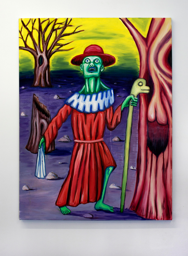 Charles Irvin. Green Cardinal. 2016.Oil on canvas, 48x36 inches. Image courtesy of the artist and Ms Barbers. Photo: Dustin Metz.