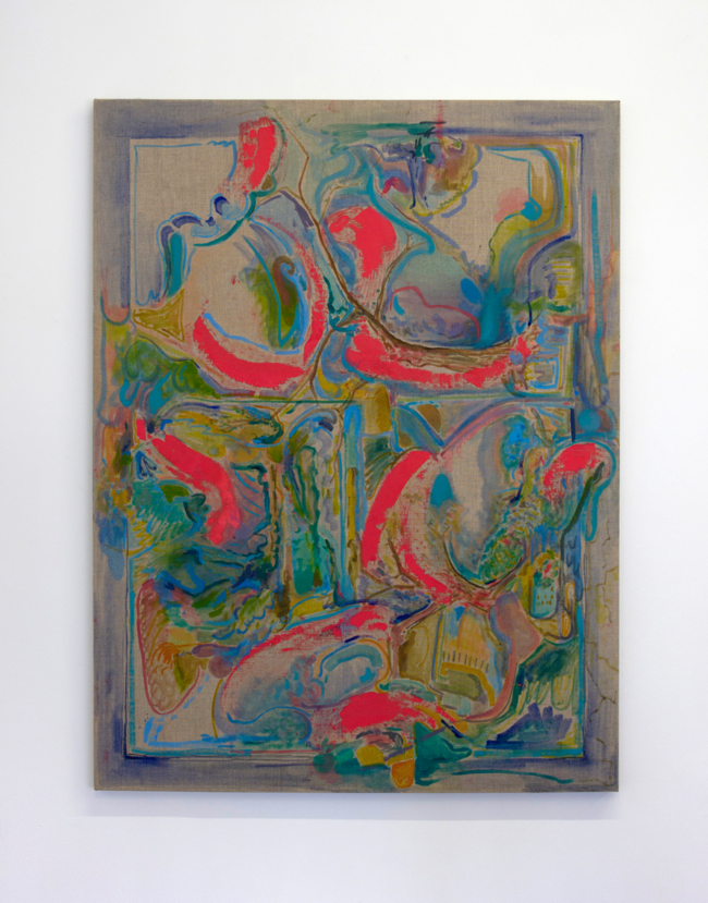 Aline Cautis. Tree Grows Strong. 2016.Oil and urethane on canvas on board, 42x32 inches.Image courtesy of the artist and Ms Barbers. Photo: Dustin Metz.