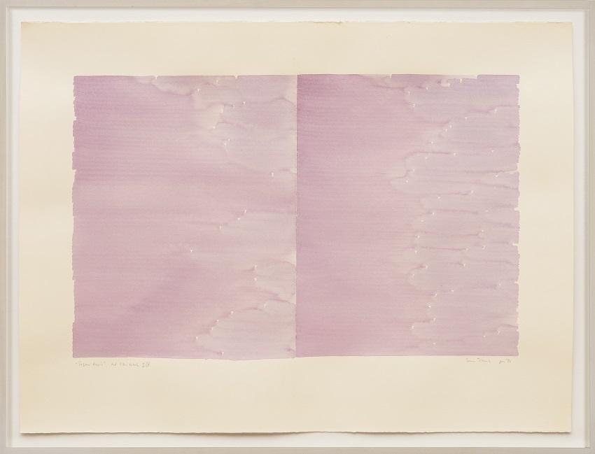 Irma Blank, Radical Writings, Pagina doppia, dal libro totale, IX, gennaio (1986). Watercolor on paper, 22.25 x 30 inches. Image courtesy of the artist and P420 Gallery, Bologna. Photo: Dario Lasagni.