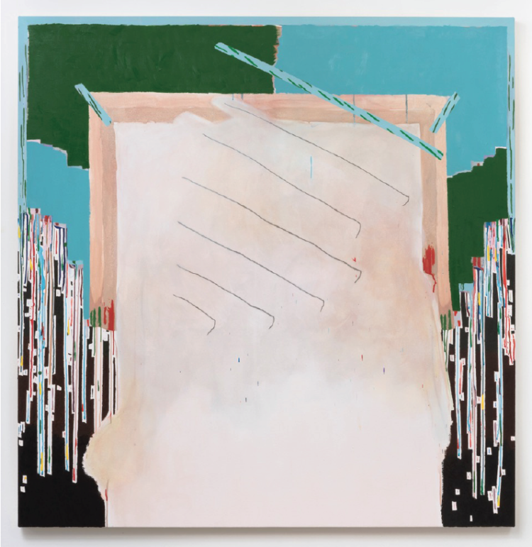 Allison Miller, Flush Arch (2015). Oil, oil stick, acrylic and pencil on canvas. 60 x 58.5 inches. Image courtesy of the artist and The Pit, Los Angeles.