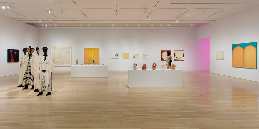 Huguette Caland, Made in L.A. 2016: a, the, though, only (2016) (installation view). June 12–August 28, 2016, Hammer Museum, Los Angeles. Photo: Brian Forrest.